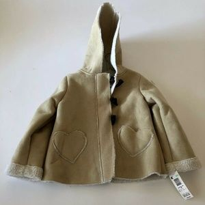 Wonder Kids Girls Coat with Heart Pockets Ivory